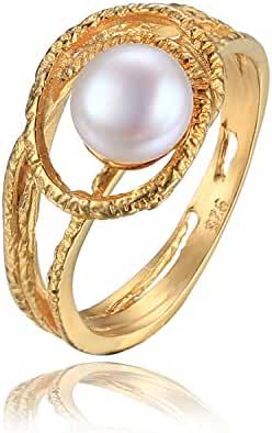 JewelryPalace White 8mm AAA Quality Freshwater Cultured Pearl Ring 18K Yellow Gold Plated 925 Sterling Silver