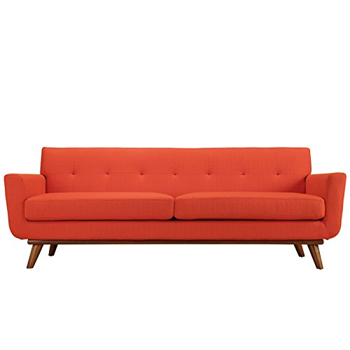 (Modway EEI-1180-ATO Engage Mid-Century Modern Upholstered Fabric Sofa Atomic Red Orange)