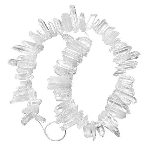 - Top Plaza Natural Raw Rock Crystal Quartz Rough Crystals Points Sticks Spikes Irregular Drilled Loose Beads 15-16'' Strand(Rough Original White Crystal)