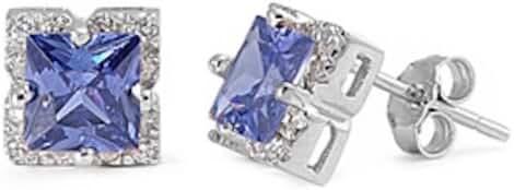 Princess Cut Simulated Tanzanite Cz .925 Sterling Silver Earring