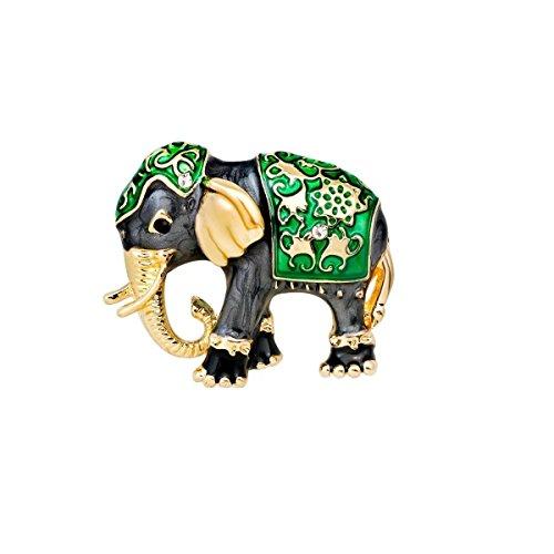 Mondora Prom Brooch Pin Animal Elephant Enamel Women's Austrian Crystal Gold-Tone Green