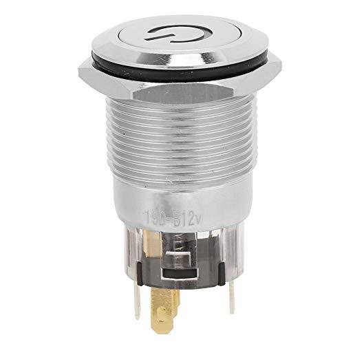 19mmボタンスイッチ、40個5はんだ足自動リセットフラットヘッドライトラベルメタルNO + NC + Cボタンスイッチ、メンテナンス産業用電源付き(青い)