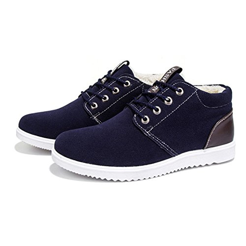 Laces Scarpe Uomo Scarpe Blu 44 da 39 Inverno Esterno Sneakers Pelliccia Blu Foderato Moda Marrone Caldo Piatto Stivaletti per Scamosciata Grigio wqzwYxgf