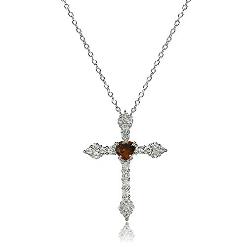 Lovve Sterling Silver Garnet & White Topaz Heart Orthodox Cross ()