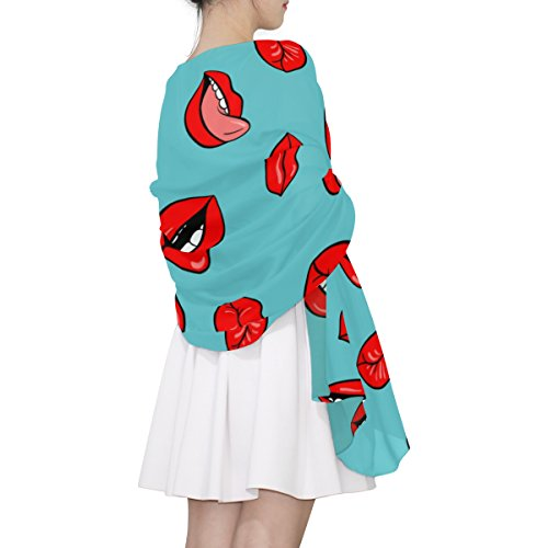 Multicolor Alaza Red Woman Scarf Lips Light x7r6X7n
