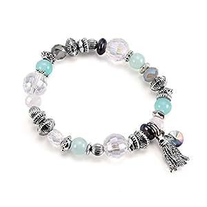 Bohemia Style Silver Bead fringed Pendant Bracelet