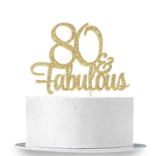 INNORU Gold Glitter 80 & Fabulous Cake Topper - 80th Birthday Party Decoration Sign - Adult Birthday Party -