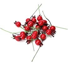 UChic 50PCS Mini Fake Smooth Glass Pomegranate Fruit Small Berries Artificial Flowers Red Cherry Stamen Wedding Christmas Decorative