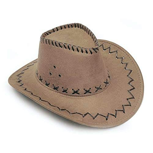New face Western Cowboy Hat 2017 Cowboy Hat for Gentleman Cowgirl Jazz Cap with Gentleman Suede Sombrero Cap,Khaki,One Size