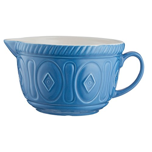 Mason Cash Color Mix Ceramic Batter Bowl; Large Enough to Whisk and Mix Ingredients; Pouring Lip and Handle; 8-Cups/Half Gallon; 10-1/4-Inches by 7-3/4-Inches by 5-Inches; Azure Blue ()