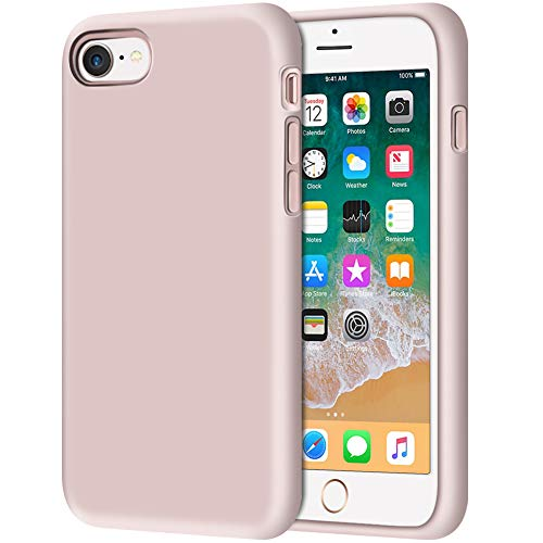 """iPhone 8 Case, Anuck Non-Slip Liquid Silicone Gel Rubber Bumper Case with Soft Microfiber Lining Cushion Hard Shell Shockproof Full-Body Protective Case Cover for Apple iPhone 7/8 4.7"""" - Pink Sand"""