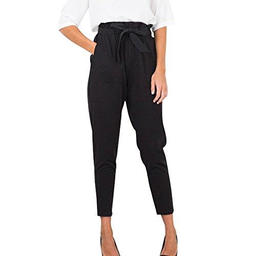 Haozin Women's Paper Bag Waist Pencil Pants with Pockets Tie Waist Slim Casual Cropped Pants (XL, Black)