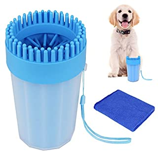 AK KYC Dog Paw Cleaner Dog Paw Washer Pet Paw Cleaner for Dogs Large&Medium Silicone Pet(Puppy) Paw Cleaner & Grooming Brush Cup Quick Wash Muddy Paws Cup, Blue L