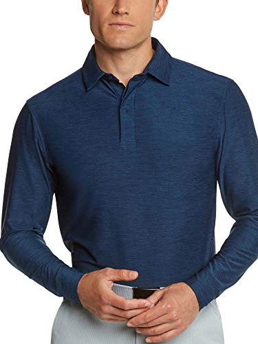 (Men's Dry Fit Long Sleeve Polo Golf Shirt, Moisture Wicking and UV Protection Navy Blue )
