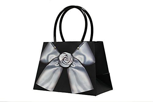 Price comparison product image Pack of 12 Small Black Unique 3D Bow Mini Purse Paper Gift Bags for Party Favors