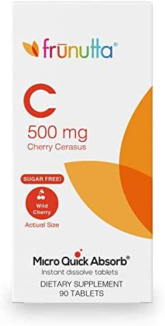 Frunutta Vitamin C Cherry Cerasus 500 mg, Under The Tongue Instant Dissolve Tablets, Immune System and Antioxandant Supplement, 3 Month Supply, Proudly Made in USA