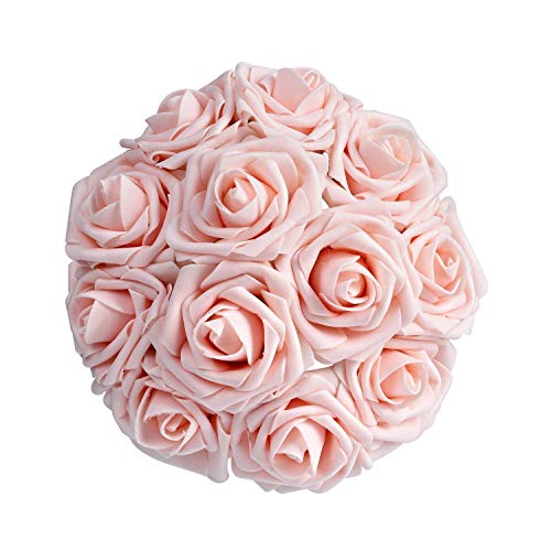 Huasyu Artificial Roses Flowers 50+2pcs Real Looking Fake Roses Artificial Foam Roses Decoration for DIY Wedding Bouquets Centerpieces, Bridal &,Baby Shower Party Home Decorations (Pink Heirloom)