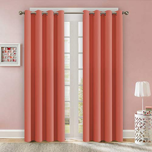 Flamingo P Blackout Curtains Room Darkening Thermal Insulated Grommet Window Curtain Bedroom Living Room 52 x 84 Inch 2 Panels, Coral Thick Curtain (Coral Flamingo)