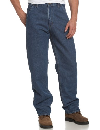 Carhartt Men's Original Fit Signature Denim Dungaree,Darksto