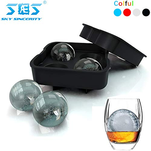 Price comparison product image Sky sincerity Large Sphere Ice Molds,  Silicone Ice Ball Maker for Whiskey,  Cocktails Round Sphere Ice Cube Trays-Leak-Free, Makes 4×1.77Inch Ice balls (Black)