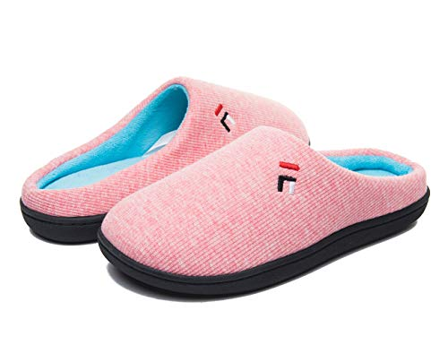 FOOTTECH Mens Memory Foam House Slippers Cozy Soft Home Shoes Anti Skid Indoor Outdoor Slip On Slipper (Women|US9-10, Women-Pink)