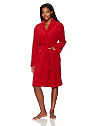 Hotel Spa Seven Apparel, Collection, Herringbone Textured Plush Robe, Red, 41 inches
