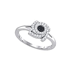 10kt White Gold Womens Round Black Colored Diamond Bridal Wedding Engagement Ring (1/3 cttw.)