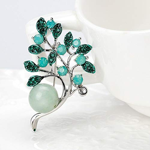 (23X Fashion Flower Pattern Brooch Pin Crystal Pearl Women Collar Corsage jewelry | Choose Style - #10 Crystal Bead Flower-Gree.)