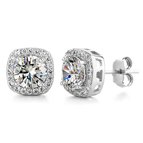 Devin Rose Square Halo Stud Earrings for Women made With Swarovski Crystals in Rhodium Plated Brass