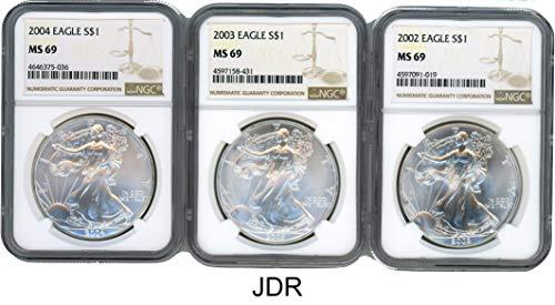 (2002 2003 2004 Silver Eagle 3 Coin Set MS-69)