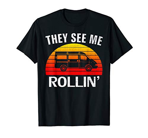 Retro Vintage They See Me Rollin Funny Minivan for Parents T-Shirt