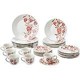 Aparelho de Jantar e Chá 30 Peças Biona Vermelho Amor Branco/Vermelho