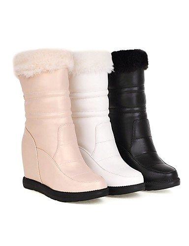Vellón Eu39 Vestido Cuña Zapatos Eu35 White Xzz Botas A us5 Beige Cuñas negro Punta Mujer us8 Moda La De Cn39 Redonda Semicuero Uk3 Cn34 Uk6 Casual Tacón Blanco nRWqw46xW