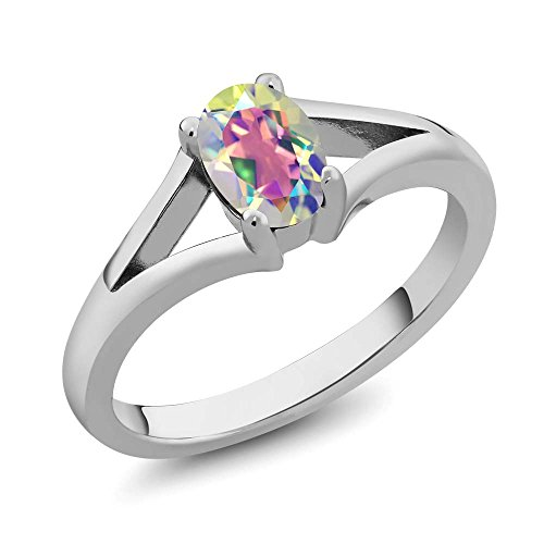 Gem Stone King 0.95 Ct Oval Mercury Mist Mystic Topaz 925 Sterling Silver Solitaire Ring
