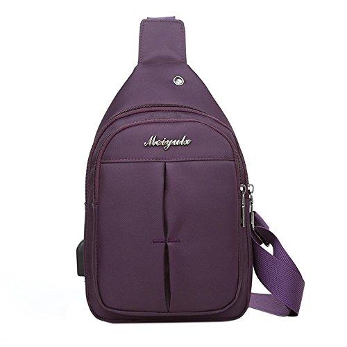 Nylon Men Pack Bag Sling Earphone Chest Purple Crossbody Shoulder Jack Widewing fqWdn5f