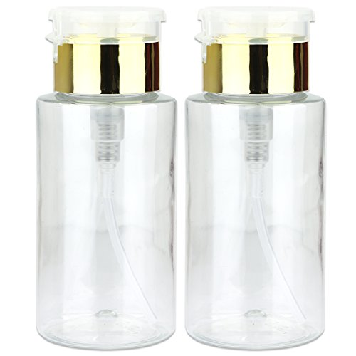 (PANA Brand 7oz. (Quantity: 2 Pieces) Professional Push Down Liquid Pumping Bottle Dispenser (Gold Lid Clear Bottle, NO WORDING!!))