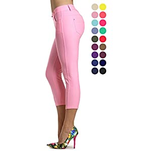 Prolific Health Capri Women's Jean Look Jeggings Tights Slimming Many Colors Spandex Leggings Pants (Large, Light Pink)