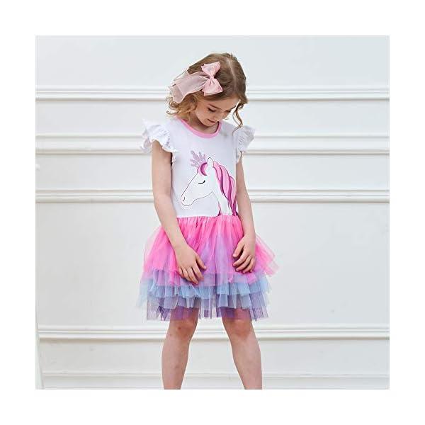 VIKITA Vestito Cotone Stampa Principessa Tulle Tutu Festa di Compleanno Abito Bambina 5