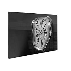 Ashley Giclee Liquefied Clock Flowing Down Table Roman Numerals Surrealism, Wall Art Photo Print On Metal Panel, Black & White, 24x30, Floating Frame, AG5778073