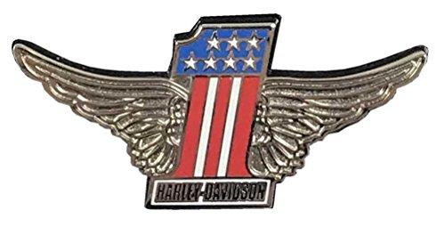 Harley Davidson Racing - Harley-Davidson Winged #1 Logo Metal Emblem Pin, Red White Blue & Silver, 52583