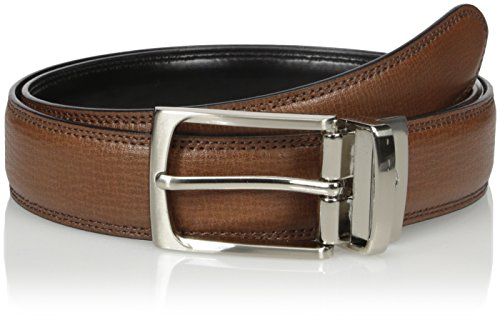 Dockers Men's 1 1/4 Inch Textured Leather Reversible (1.25 Leather Belt)