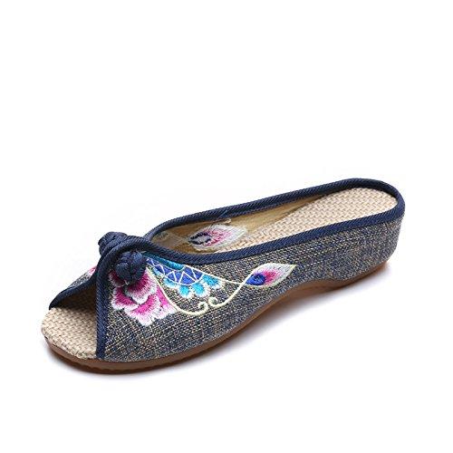 ZLL Gestickte Schuhe, Sehnensohle, ethnischer Stil, weiblicher Flip Flop, Mode, bequem, Sandalen Grey
