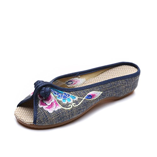 Mn Flip Estilo De Bordado Moda Sandalias Étnico Único Zapatos Flop Cómodo Gris Mujeres Tendón PPrx1q