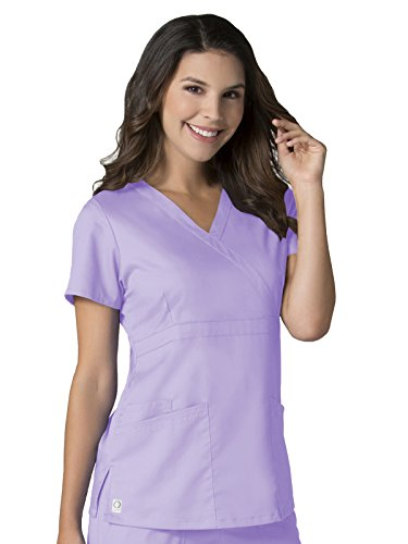 - Maevn Women's EON Back Mesh Panel Mock Wrap Top(Lavender, XS)