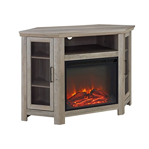 Pemberly Row 48 Wood Corner Fireplace Media TV Stand Console in Gray Wash