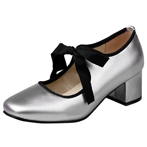 COOLCEPT Women Chunky Heels Court Shoes Silver BwWQi