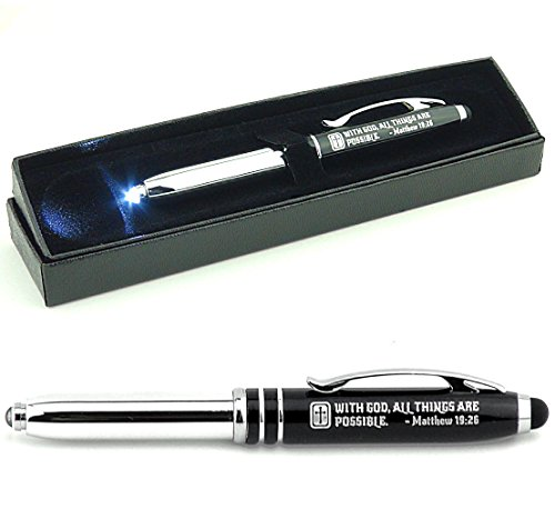Matthew 19:26 Engraved Pen Light w/ Stylus -