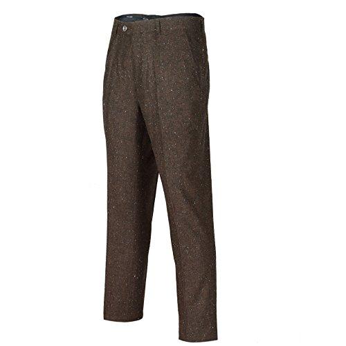 Mens Grey Brown Vintage Herringbone Tweed Wool Trousers Classic Tailored Fit[Leon-Brown,Brown,Waist 44] ()