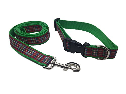 Preston Royal Stewart Plaid Dog Collar and Leash Set Red/blue/green Tartan Ribbon and Nylon Webbing (Large)