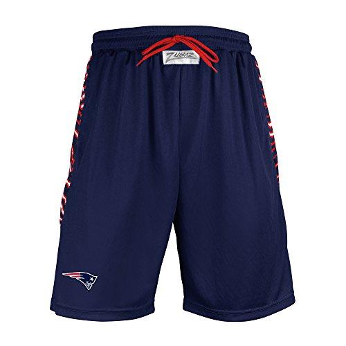 Zubaz NFL New England Patriots Men's Zebra Print Accent Team Logo Active Shorts, Medium, Navy